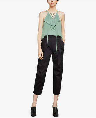 BCBGMAXAZRIA Pleated High-Rise Ankle Pants