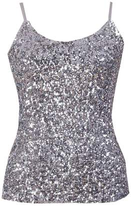 BYWX-Women Shiny Sequin Sleeveless Glitter Camisole Vest Tank Top
