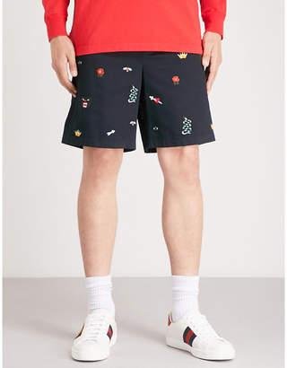 Gucci Embroidered cotton-gabardine shorts