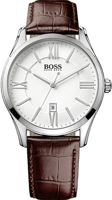 HUGO BOSS 1513021 ambassador watch with leather strap $158 thestylecure.com