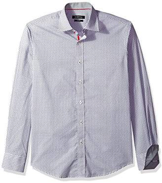 Bugatchi Men's Patterned Cotton Shaped Fit Point Collar Button Down Shirt