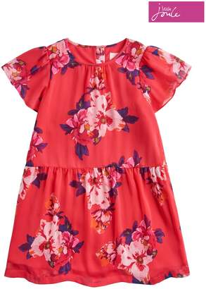Next Girls Joules Deep Pink Granny Floral Chiffon Party Dress
