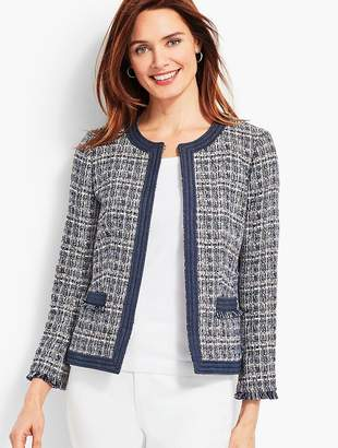 Talbots Chambray-Trim Tweed Jacket