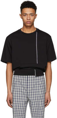 3.1 Phillip Lim Black Short Sleeve Re-Constructed Sweatshirt