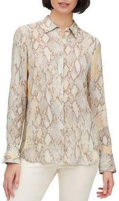 Lafayette 148 New York Scottie Sidewinder Snake-Print Button-Down Blouse