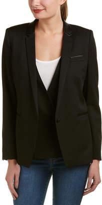 The Kooples Contrast Wool-Blend Leather-Trim Blazer