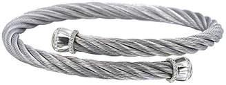 Alor 14K White Gold Stainless Steel Diamond Coil Bangle