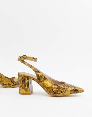 New Look slingback block heeled shoes in snake print