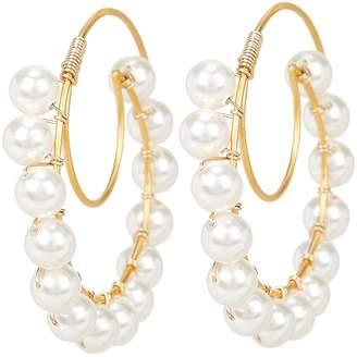 Beck Jewels Lune Swarovski Pearl Hoop Earrings
