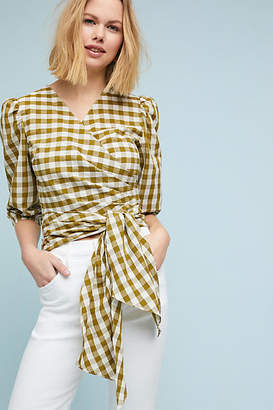 WHIT Gingham Wrapped Blouse