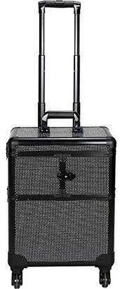 Sunrise C6304 3-Tiers Accordion Trays Professional Rolling Aluminum Cosmetic Makeup Case