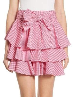 Gingham Tiered Ruffled Mini Skirt