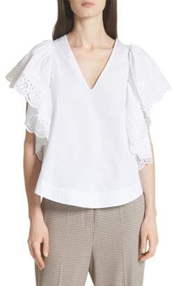 See by Chloe Eyelet Trim Ruffle Sleeve Top