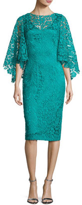Theia Bell-Sleeve Floral Lace Cocktail Dress, Turquoise $595 thestylecure.com