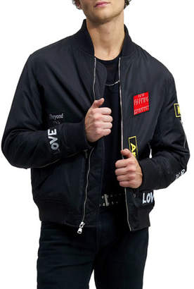 The Very Warm Men's Mason Water-Resistant Bomber Jacket, Black Patched