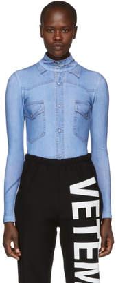 Vetements Blue Shirt Print Bodysuit