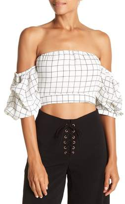 Do & Be Do + Be Windowpane Off-the-Shoulder Blouse