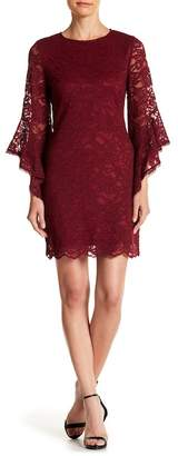 Laundry by Shelli Segal Lace Asymmetrical Bell Sleeve Dress