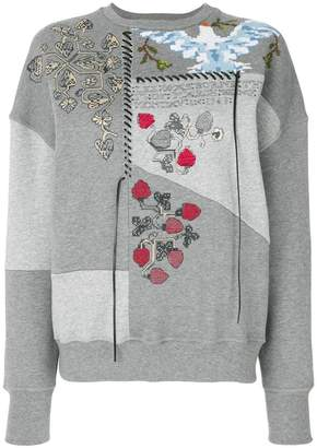 Alexander McQueen embroidered patchwork sweatshirt