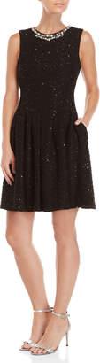 Eliza J Faux Pearl Neck Embellished Fit & Flare Dress