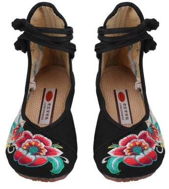 Dodomore Chinese Style Womens Shoe Casual Soft Sole Shoes Comfortable Embroidered Shoes