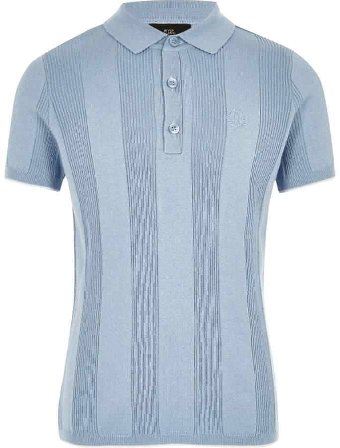 Boys RI Blue wide ribbed polo shirt