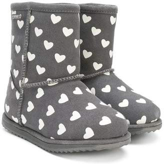 Emu heart print boots
