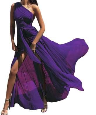 Winwinus Women Swing Solid Color Chiffon One Shoulder Sexy Beach Wear Dress S