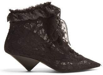 Saint Laurent - Blaze Point Toe Ruffle Trimmed Boots - Womens - Black