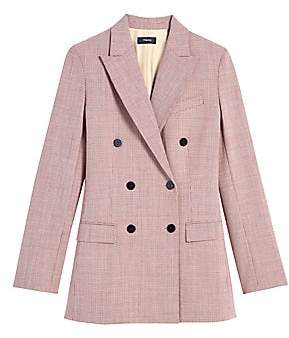 Theory Women's Twill Wool-Blend Double-Breasted Plaid Jacket