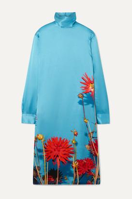 Dries Van Noten Dontisy Floral-print Satin Dress - Light blue