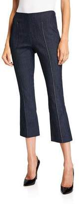Cinq à Sept Mila Pintuck Cropped Flare Trousers