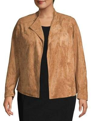 Rafaella Plus Open-Collar Moto Jacket