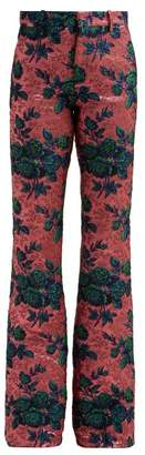 Gucci Floral Metallic Brocade Kick Flare Trousers - Womens - Pink Multi