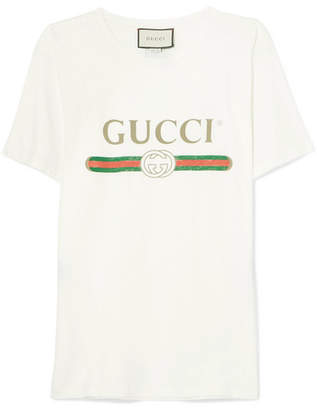 Gucci Appliquéd Distressed Printed Cotton-jersey T-shirt - Ivory