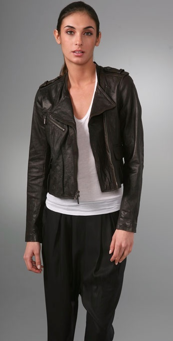 Vince Cropped Leather Motorcycle Jacket