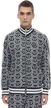 Philipp Plein All Over Logo Cotton Blend Track Jacket