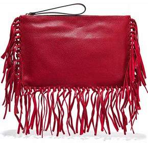 Valentino Woman Fringe-trimmed Textured-leather Clutch Red Size Valentino dEdvV4
