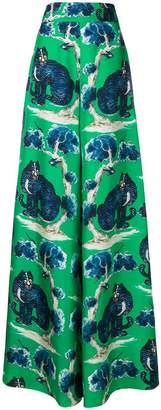 Gucci cat print flared trousers