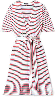 DAY Birger et Mikkelsen MDS Stripes - Rose Striped Cotton-jersey Wrap Dress - Red