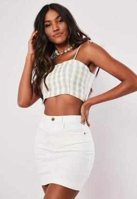 Missguided White Denim Super Stretch Mini Skirt