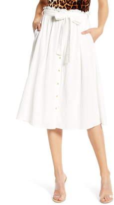 Vero Moda Sammi Tie Waist Cotton Midi Skirt