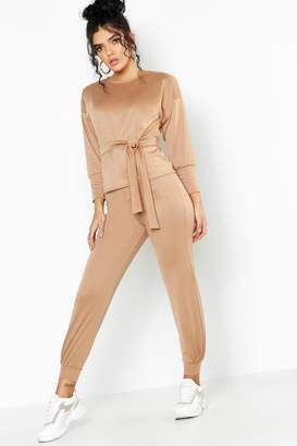 boohoo Belted Sweat & Jogger Tracksuit