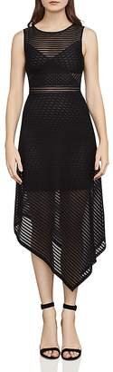 BCBGMAXAZRIA Leona Asymmetric Striped Mesh Dress