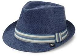 Stripe Band Straw Trilby