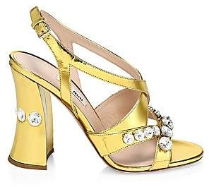 Miu Miu Women's Crystal-Embellished Metallic Leather Curved-Heel Sandals