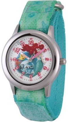 Disney Princess Ariel and Flounder Girls' Stainless Steel Time Teacher Watch, Green Stretch Hook and Loop Nylon Strap with Printed Ariel