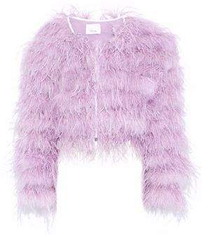 Cinq à Sept Lennox Cropped Feather-Embellished Mesh Jacket