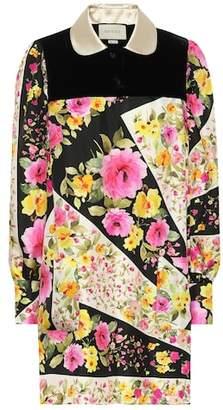 Gucci Floral silk and velvet minidress