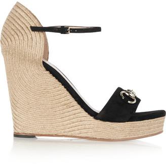 Gucci - Horsebit-detailed Suede Espadrille Wedge Sandals - Black $595 thestylecure.com